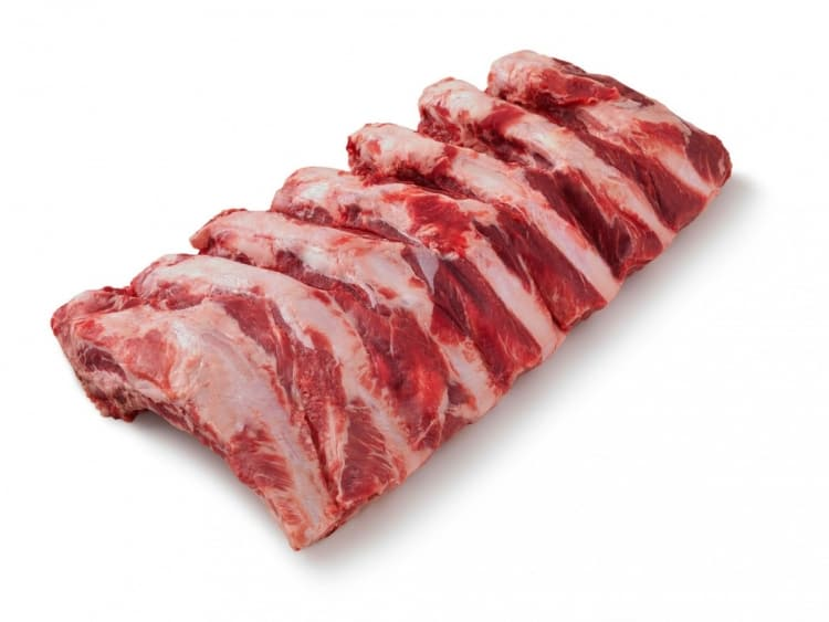 Beef back ribs isolated on white