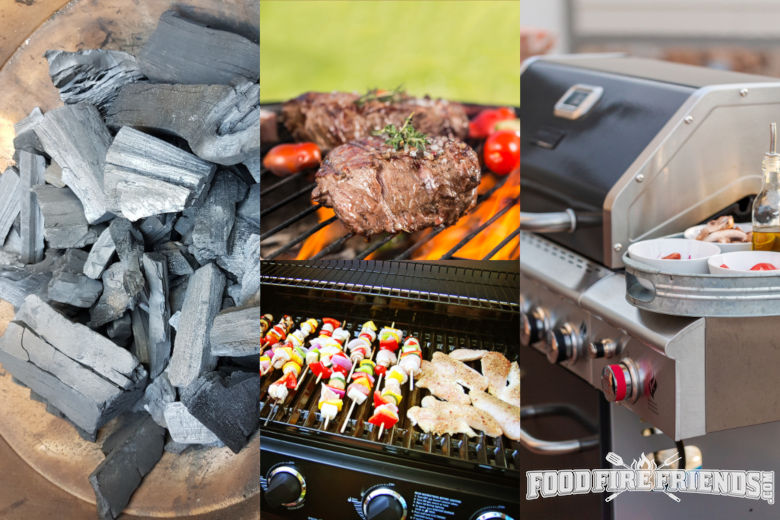 A 3 picture montage of a charcoal grill and gas grill, separated by some cooked food.