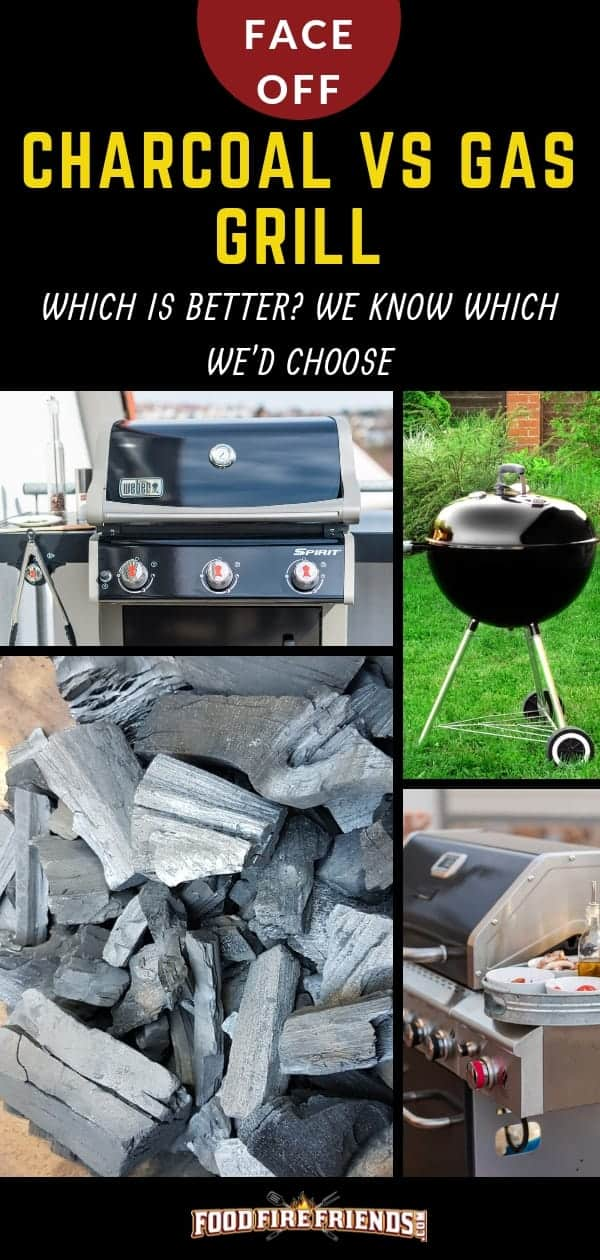 Charcoal vs gas grill written above a photo montage of both grill types