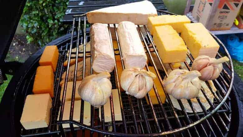 cold smoking cheeses and garlic
