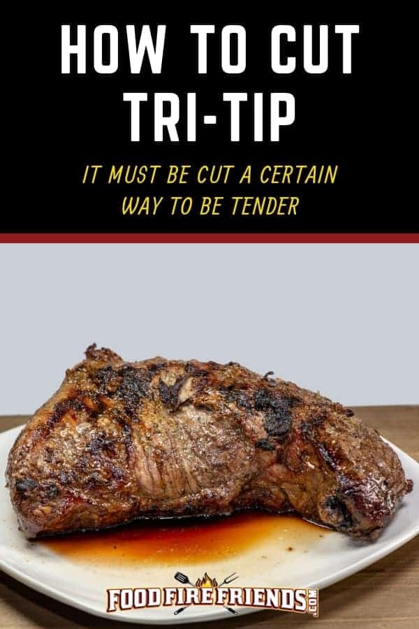 How to cut tri-tip written above a smoked tri-tip resting