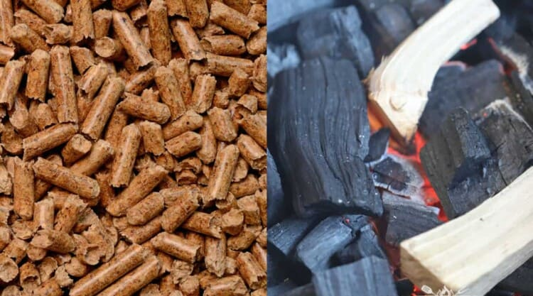 Wood pellets and lumpwood charcoal side by side, with some smoking wood chunks on the coal
