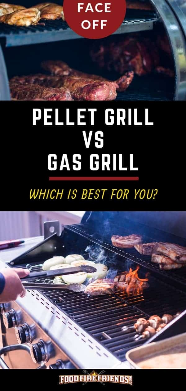 Pellet grill vs gas grill written between one of each