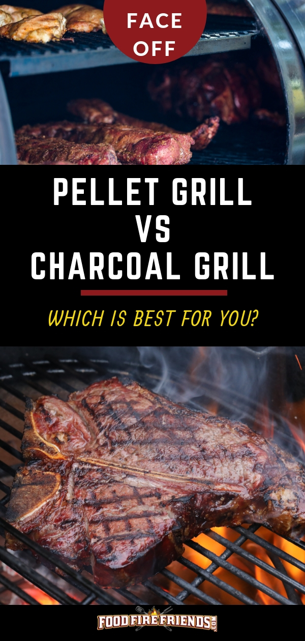 Pellet Grill vs Charcoal Grill written between photo of one of each