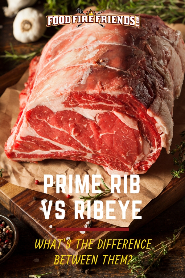 Prime rib vs ribeye written across a close up photo of a large prime rib joint