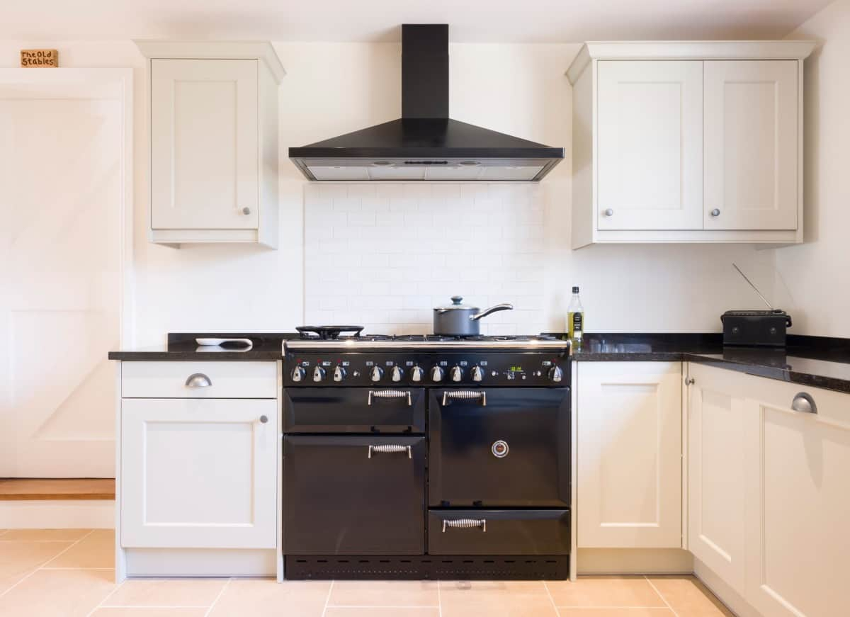 Modern modular kitchen interior in black and off white, with range cooker