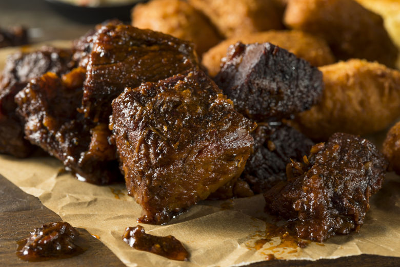 Close up of brisket burnt ends