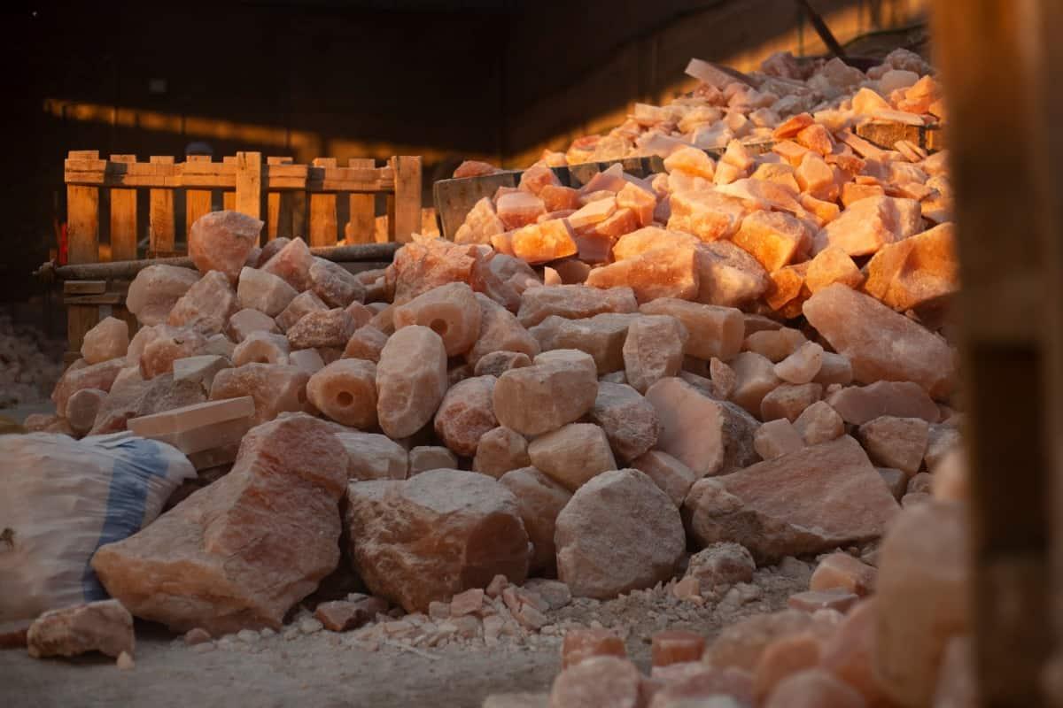 Salt rocks piled high in a Himalayan salt factory