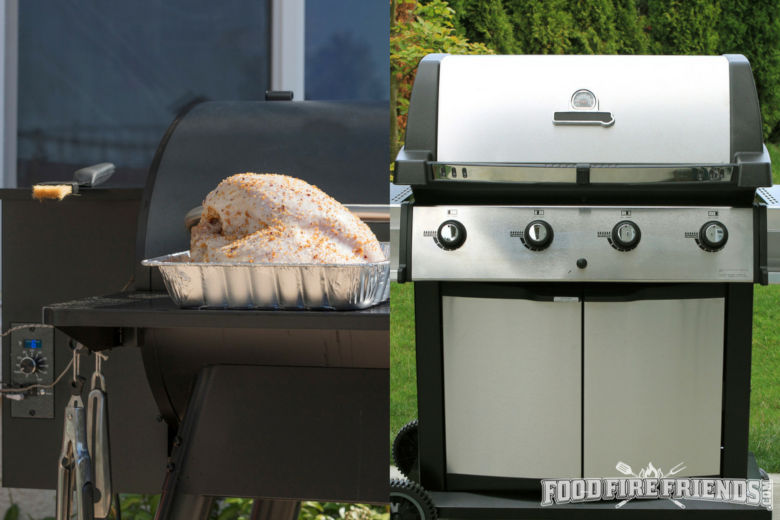 2 images, one of each of a pellet grill and a gas grill side by side