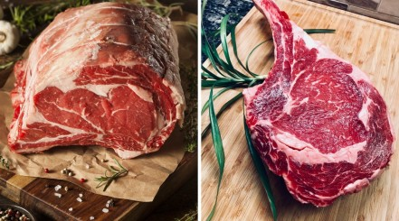 A raw prime rib and a raw bone in ribeye, side by side in two separate photos