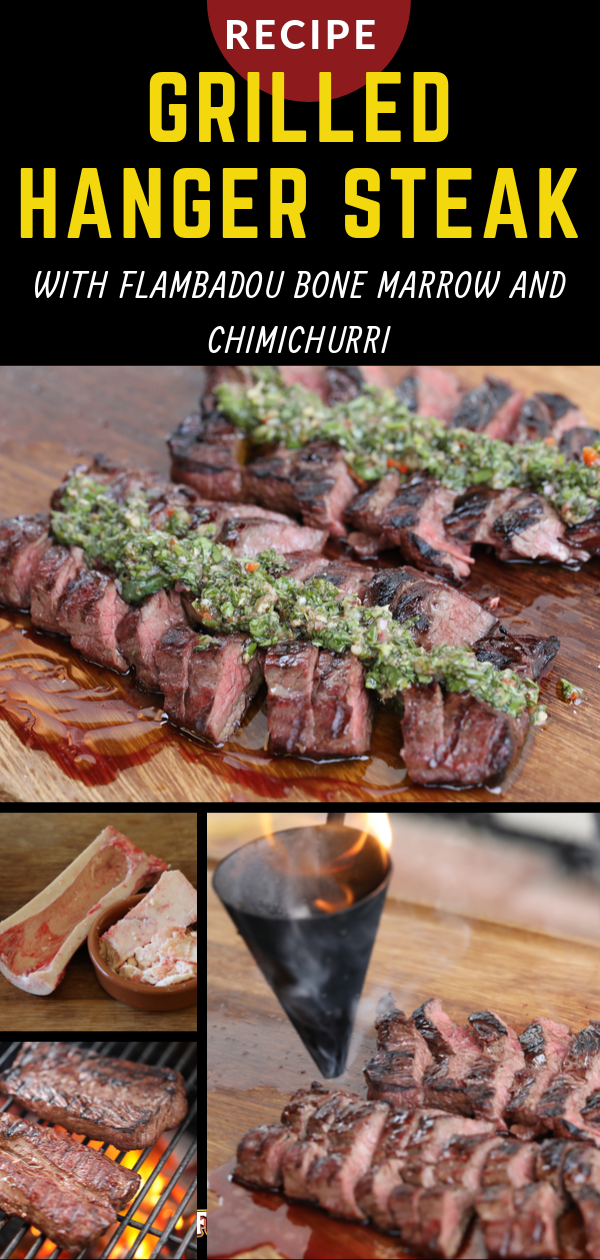 a montage f grilled hanger steak with chimichurri photos during cooking