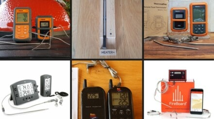 6 smoker thermometers in a photo montage