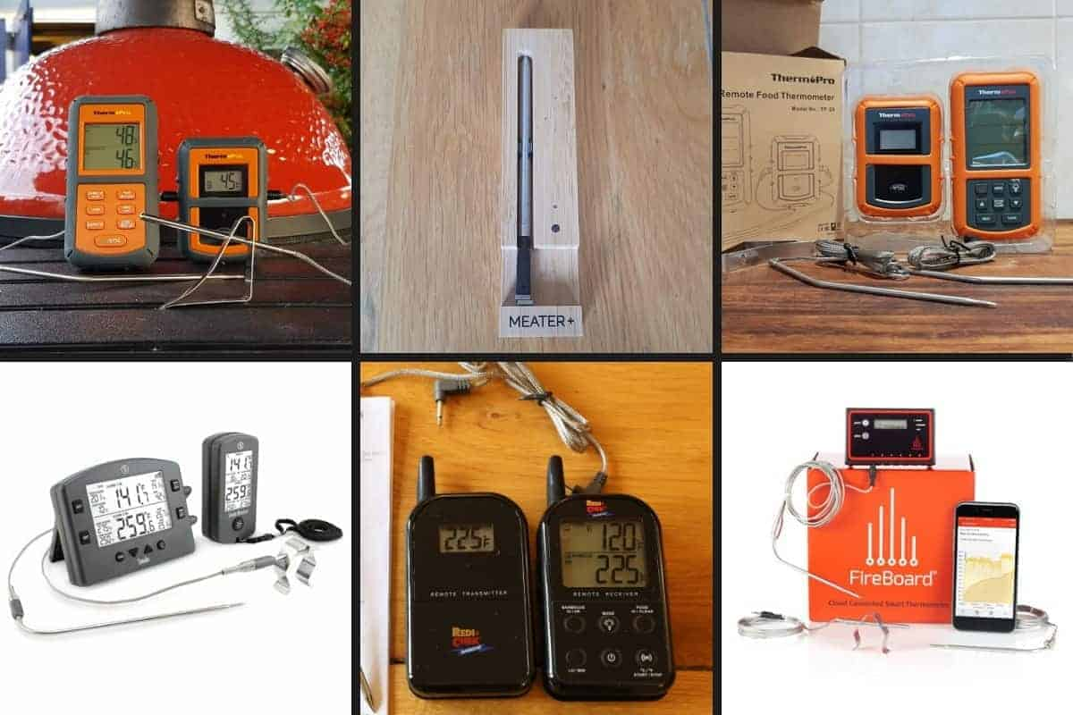 A photo montage of 6 of the best smoker thermometers