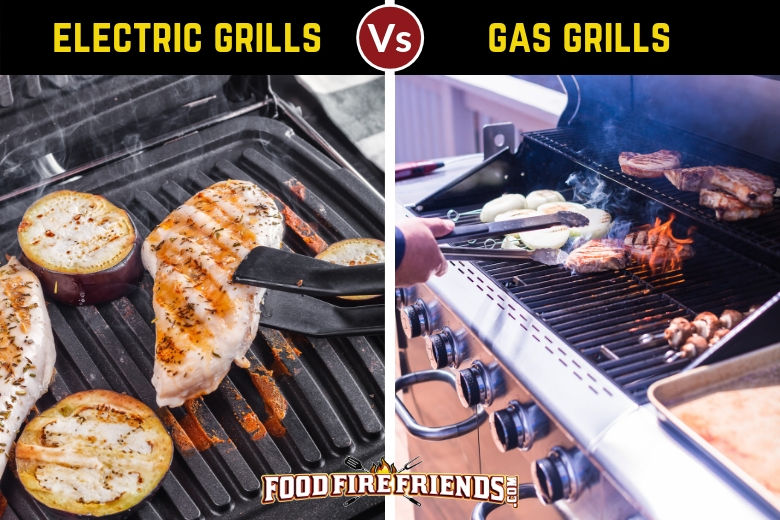 Electric vs gas grill written above a photo of one of each, both full of meat cooking