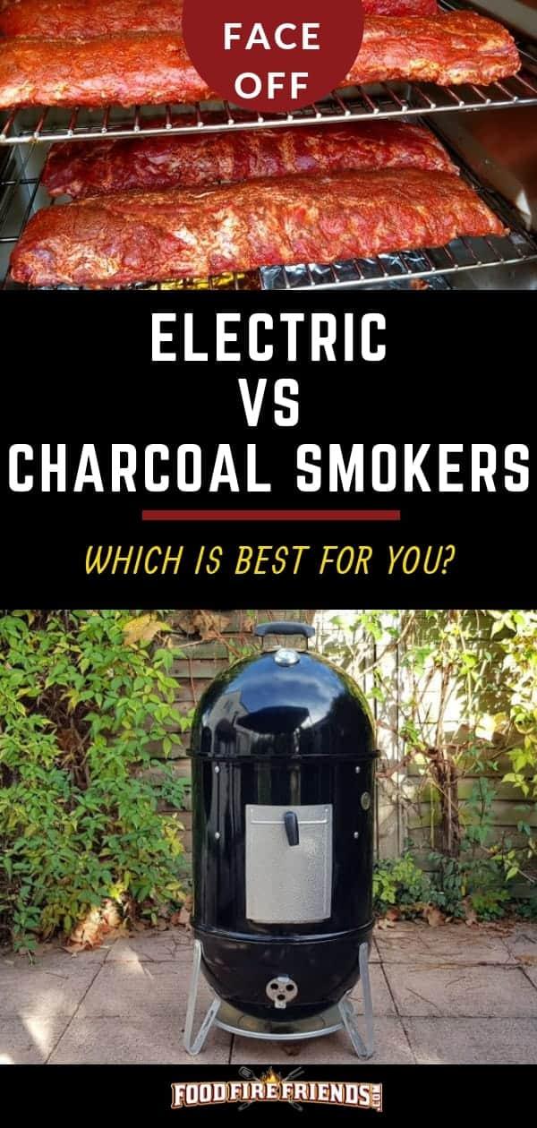 Electric vs Charcoal Smoker written between a photo of each