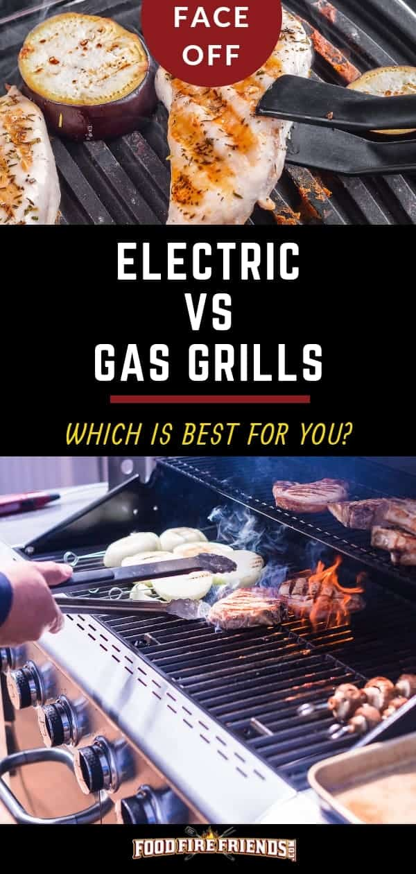 Electric vs Gas Grill written between a photo of one of each
