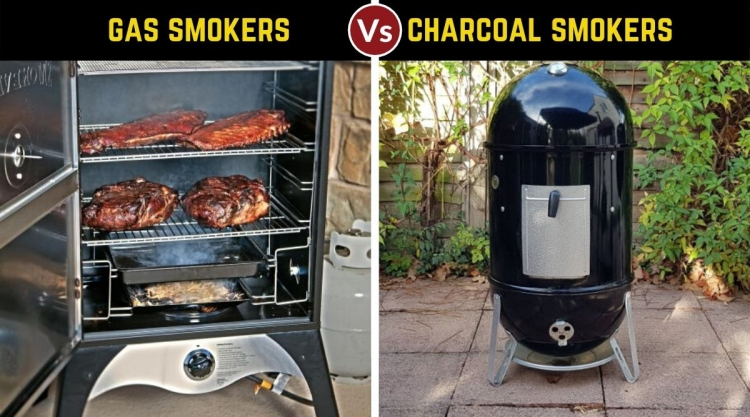 gas vs charcoal smoker, written above one photo of each side by side