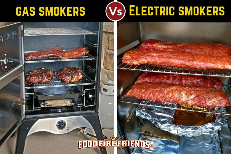 Gas vs electric smoker, written above 2 photos of one of each, both full of meat