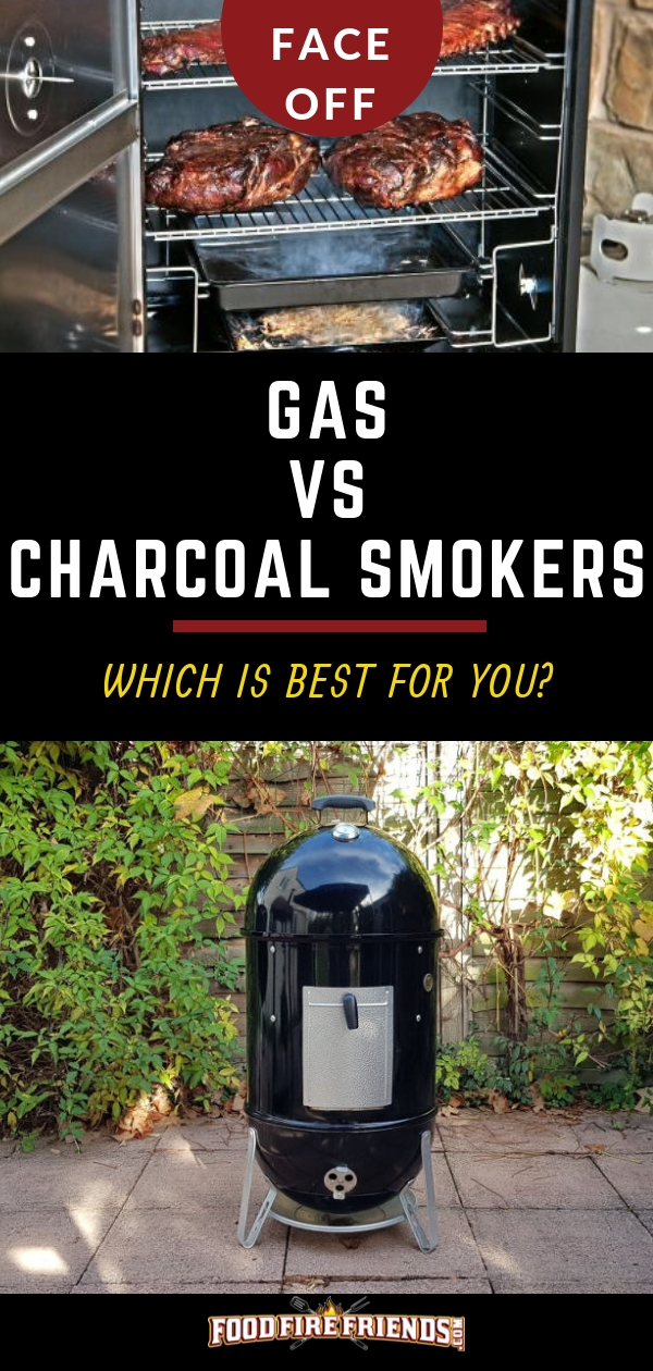 Gas vs Charcoal Smoker written between a photo of one of each