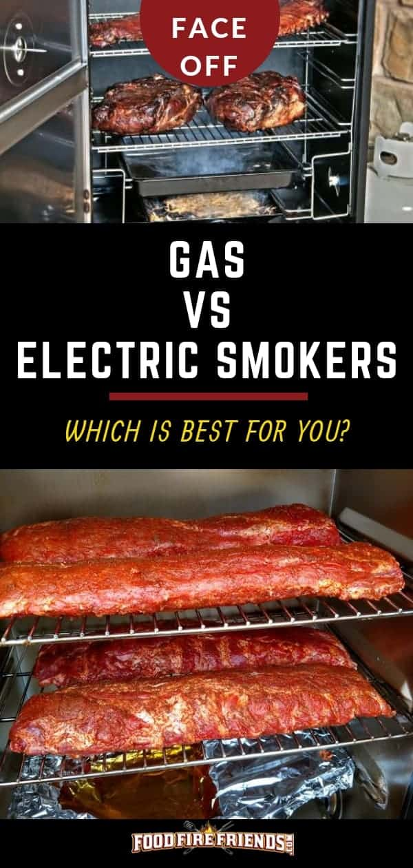 Gas vs Electric Smoker written between a photo of one of each