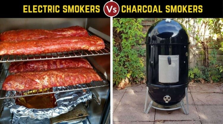 Electric vs charcoal smoker, written above one of each, with the electric full of meat