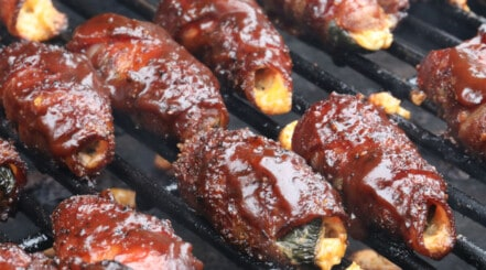 Close up of sauced atomic buffalo turds on the grill
