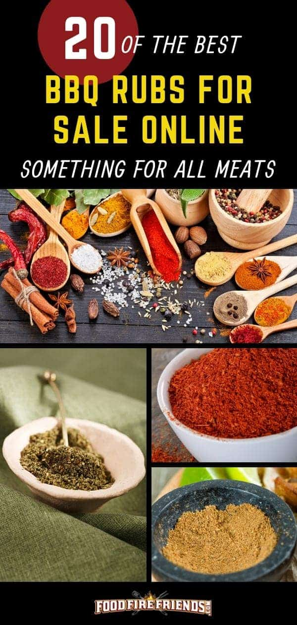 20 Best BBQ rubs for sale online written across a photo montage of bbq rubs