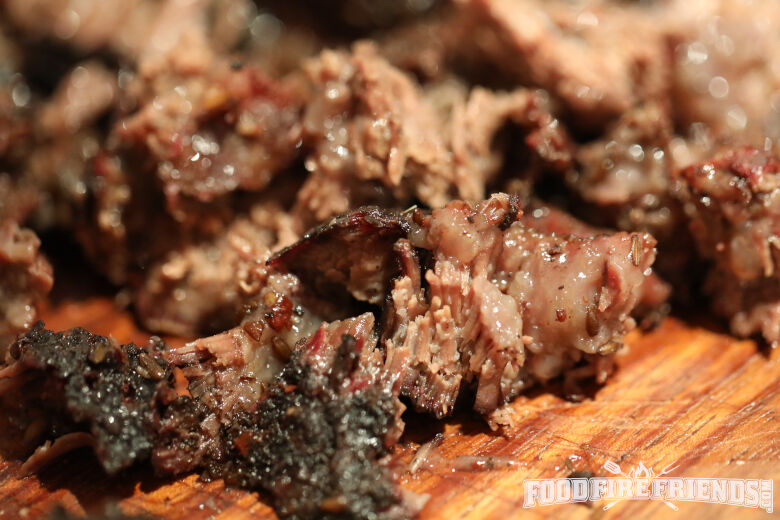Close up of pulled beef cheeks
