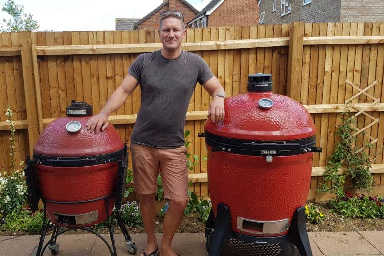 Me and my 2 red kamado joes
