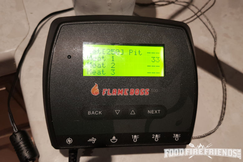 Temperature display of 33f with flame boss 500 probe in ice