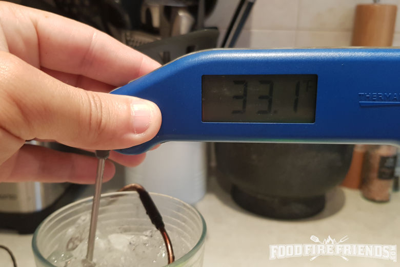 33.1F displayed on an instant read thermometer