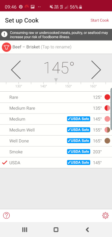 Meater app beef internal temperatures guide and settings screen
