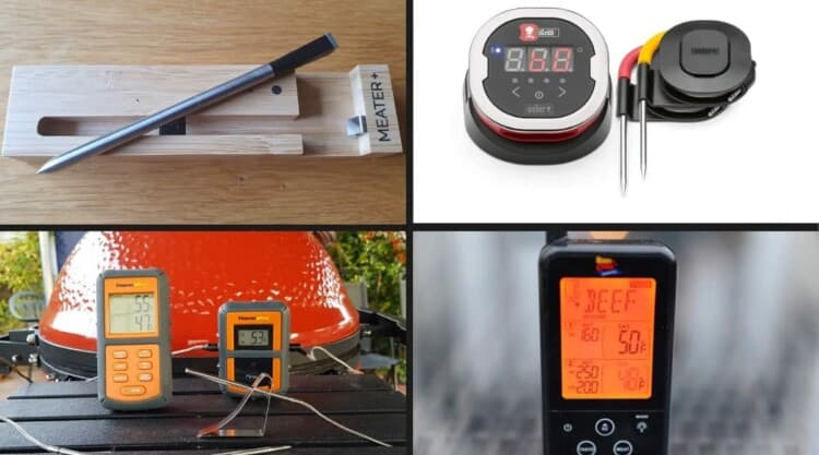 4 wireless meat thermometers in a photo montage