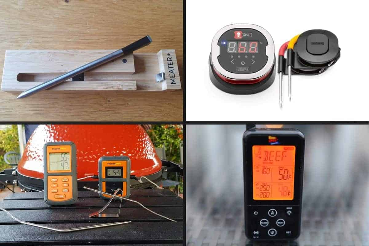 Photo montage of 4 wireless meat thermometers