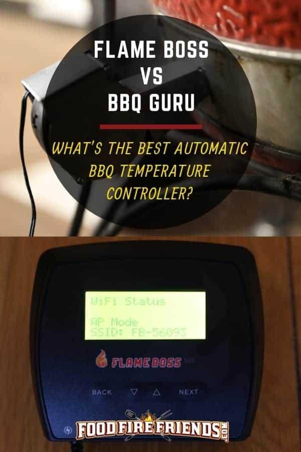 Flame Boss vs BBQGuru written across two photos of a flame boss driving a kamado joe