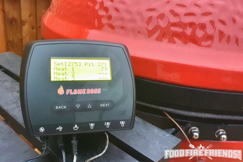 Close up of Flame boss 500 controlling a Kamado Joe Big Joe 3
