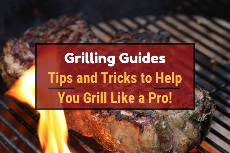 Grilling guides written across a large steak on a grill, with flames licking up the side of it