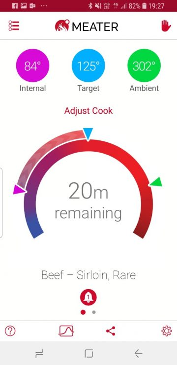 Meater app screenshot mid cook showing pit temp, food temp and time left to cook