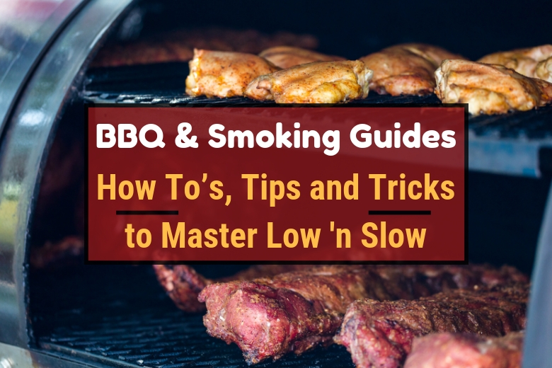 BBQ and smoking guides written across a smoker full of meats