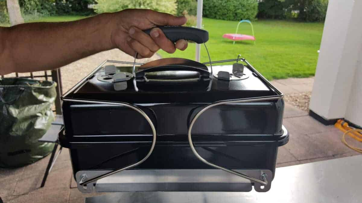 Weber go anywhere with legs folded so it can be carried