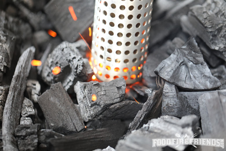 Looftlighter lighting coals, just at the stage the coals are sparking