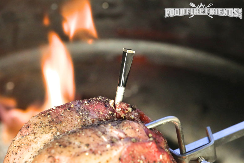 rotisserie sirloin with a Meater thermometer probe inserted