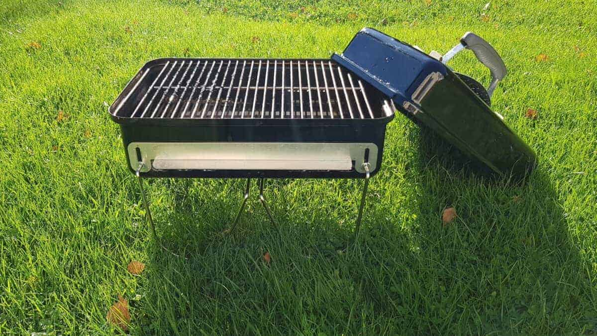 Weber go anywhere, lid on, sitting on long grass