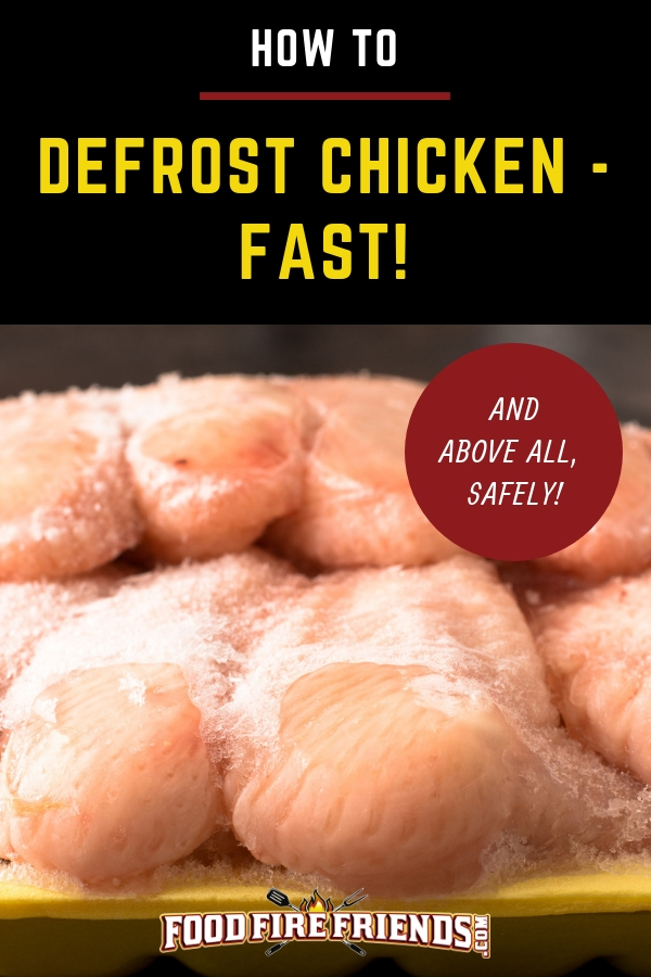 How to defrost chicken fast, written above frozen chicken breasts