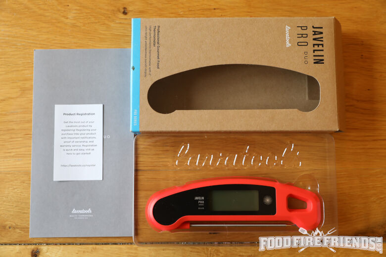 Contents of lavatools javelin pro duo thermometer laid out on a wooden table