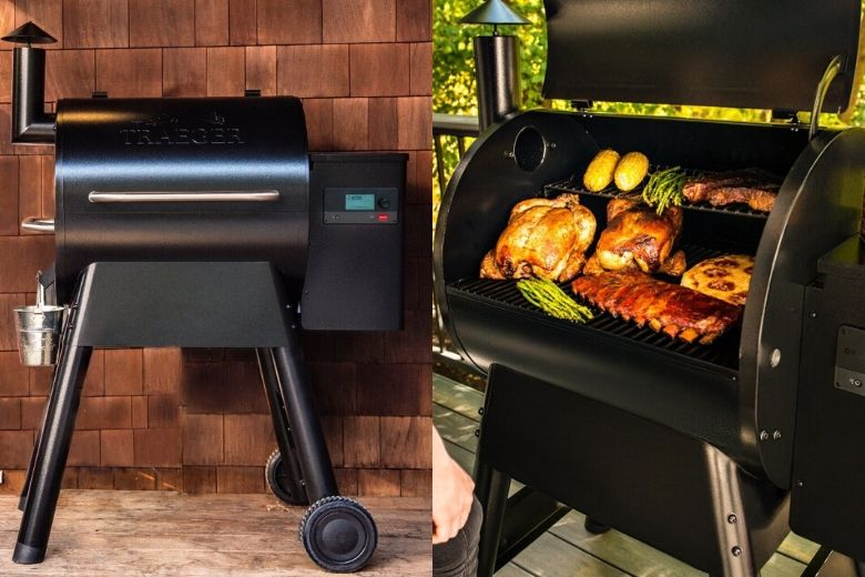 2 images of Traeger pro series 22 in backyards, one lid closed, one lid open full of food being smoked