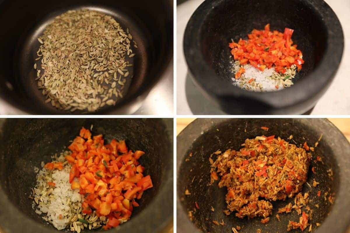 Four photos of toasted fennel seed chilli paste being made in a pan and pestle and mortar