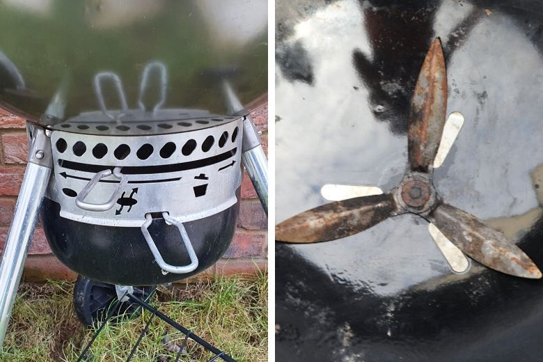 2 images of a charcoal grill intake vent and it's controls