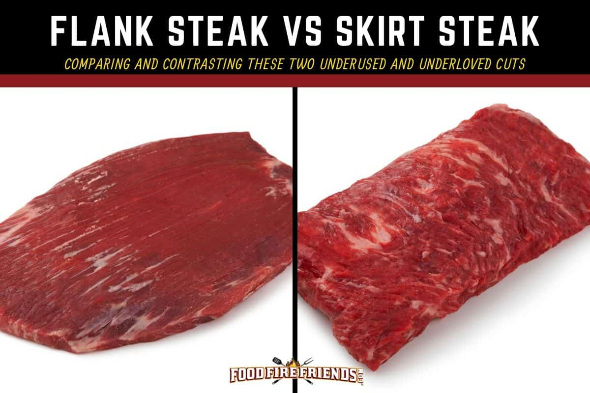 Flank steak vs skirt steak written above a picture of each isolated on white