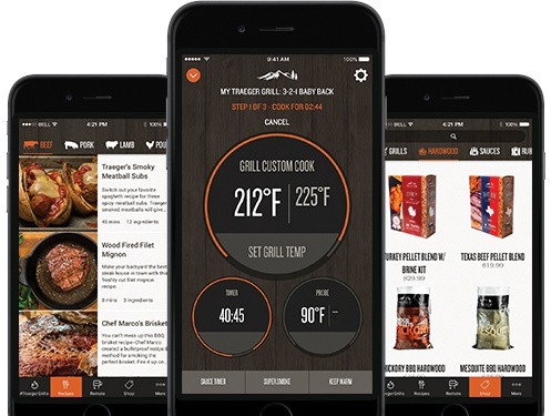 3 screenshots of the Traeger wifire mobile app side by side